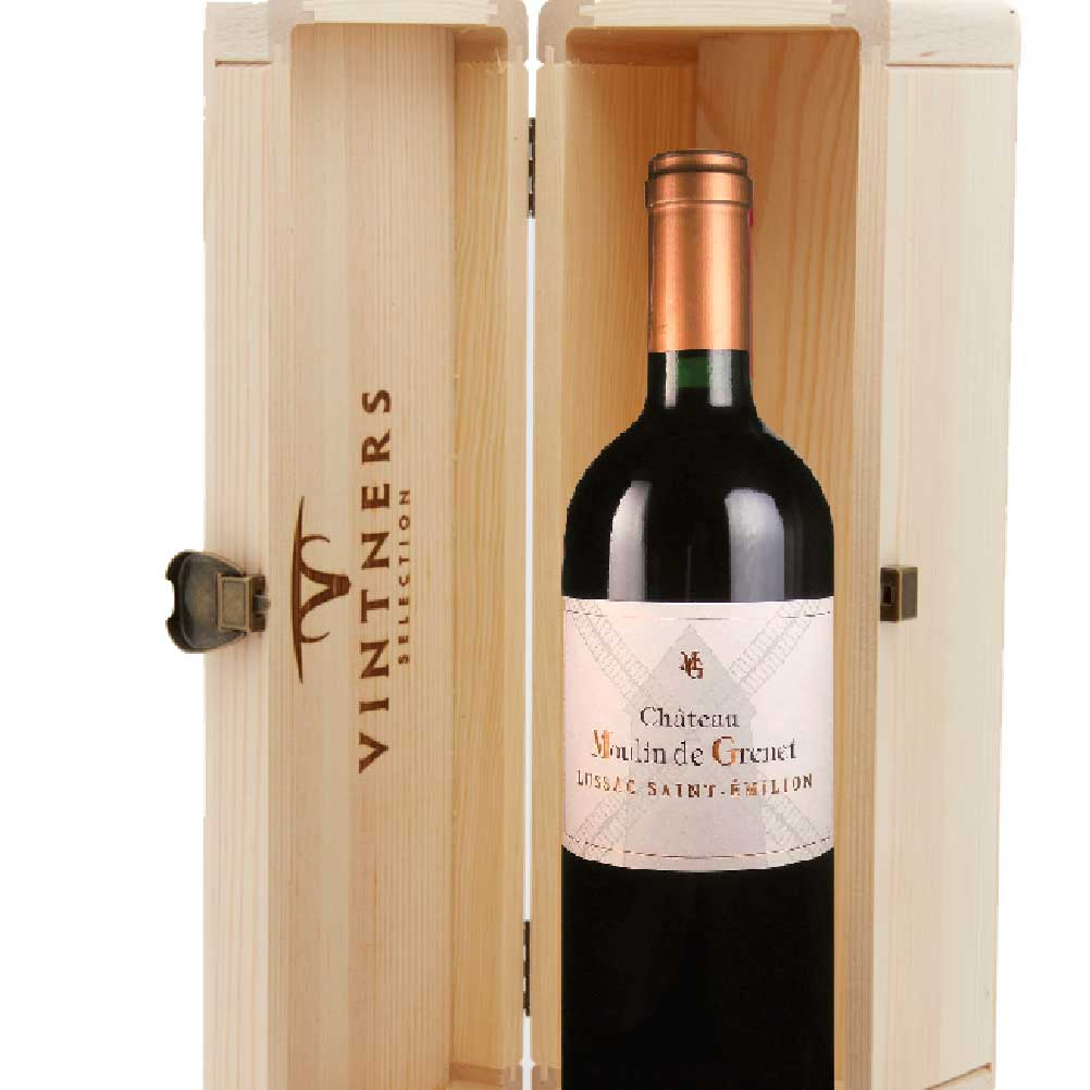 Lussac St. Emilion, Ch. Moulin De Grenet in Wood Box Fine Red wine gift zoomed