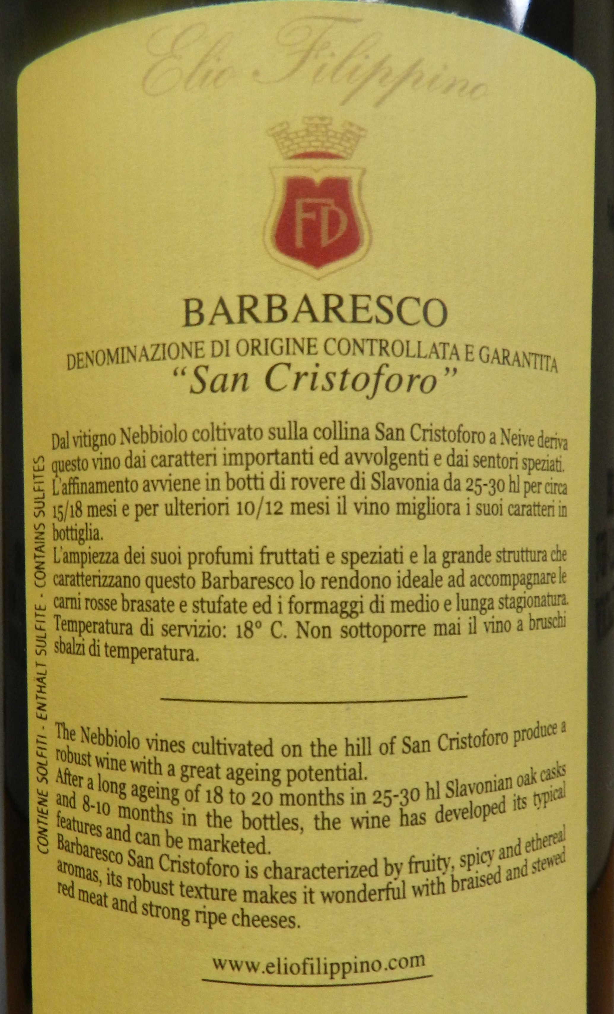 Barbaresco San Cristoforo Filippino label